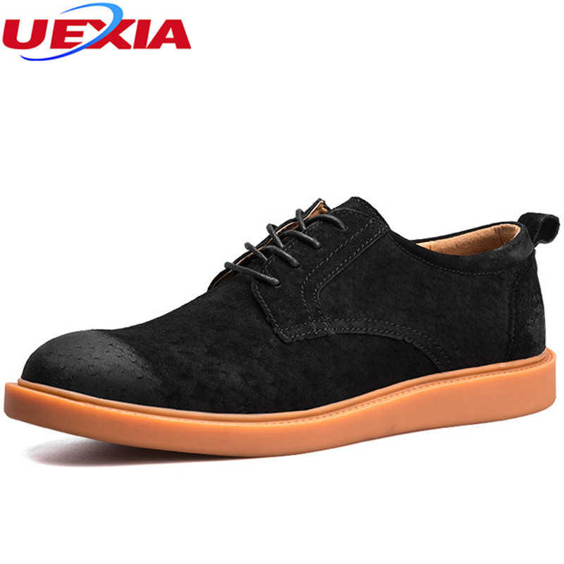 UEXIA Rubber Sole Casual Shoes Men Pigskin Flats Lace-Up Simple Stylish Male Oxford Fashion Breathable Solid Spring Autumn Round genuine leather mens oxford shoes breathable men flats casual martin boots shoes 2017 spring autumn summer lace up unisex shoe
