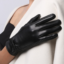 Sheepskin Bow Short Gloves Ladies Fashion Plus Velvet Thick Warm Driving Winter Leather NW185-5