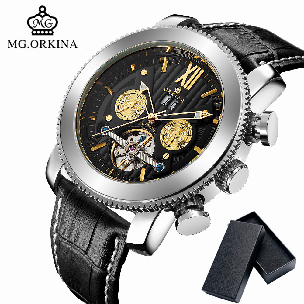 MG.ORKINA Luxury Brand Automatic Mechanical Watch Men Gold Tourbillon Date Display Wrist Watches Leather Band Men's Clock 2017 original binger mans automatic mechanical wrist watch date display watch self wind steel with gold wheel watches new luxury