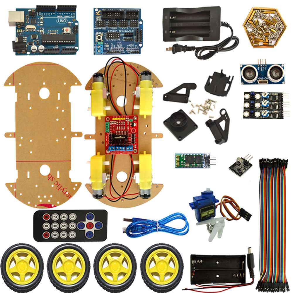 4WD Bluetooth Multi-functional DIY Smart Car For Arduino Robot Education Programming+User Manual+PDF(online)+Video