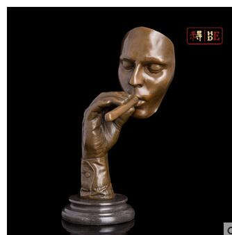 예술 공예 구리 종교적 믿음 조각 처녀기도 입상 골동품 추상 얼굴 모양 황동 동상 명 상자 남자