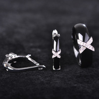 Ceramic Jewelry Sets For Women Letter X Shape Ring Zirconia Micro Paved Rhodium Plated Earrings Rings
