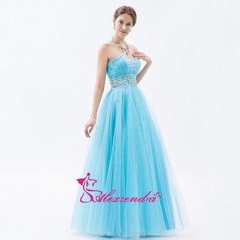 Alexzendra Beaded Tulle Sweetheart Long Prom Dresses Customize Simple Light Blue Evening Dress Party Dresses Plus Size
