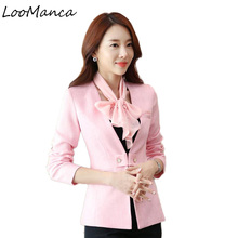 2018 New Spring Autumn Blaser Women Long Sleeve Blazer Work Office Lady Business Outwear Tops Casual Coat Jacket Pink Blazers