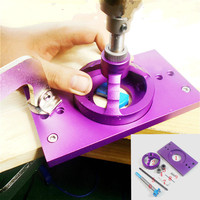 NEW Aluminium Alloy 35mm Cup Style Hinge Boring Jig Drill Guide Set Door Hole Template Bit Tool Woodworking Tool