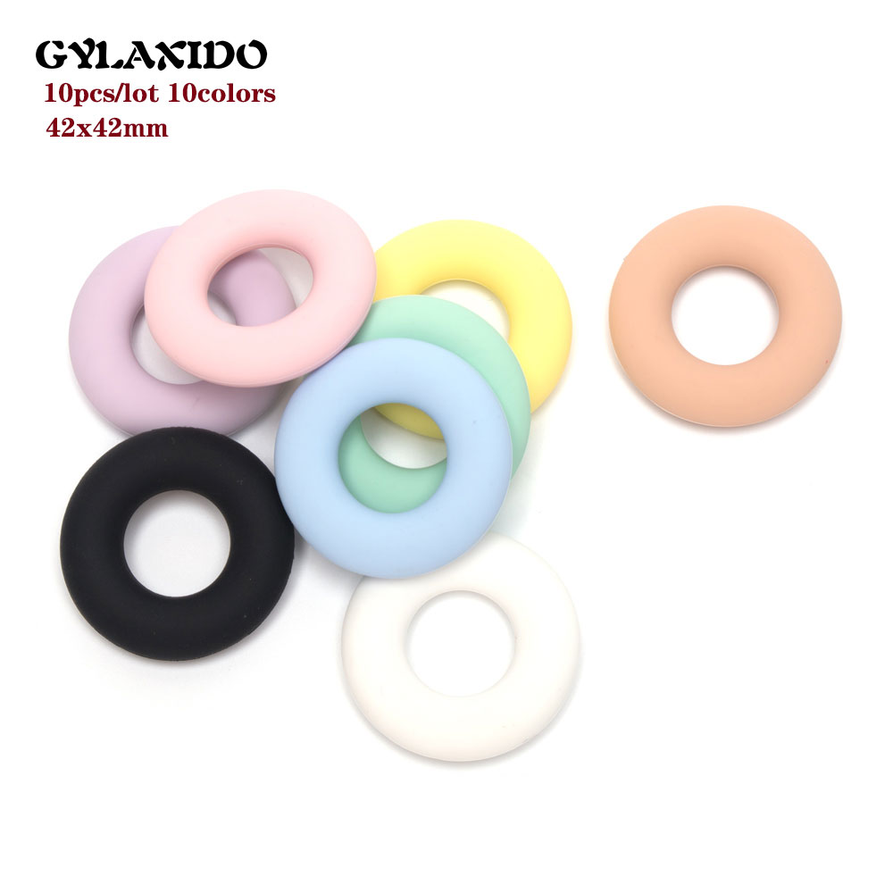 10Pcs Round Baby Teether Teething Ring  Perle Silicone Beads 42mm PVC Free Teething Necklace Toy Baby Products Nursing Mordedor