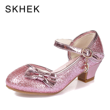 SKHEK Children shoes Sandals for Girls Flower Butterfly Knot Shoes High Heel Princess Baby Kids Party