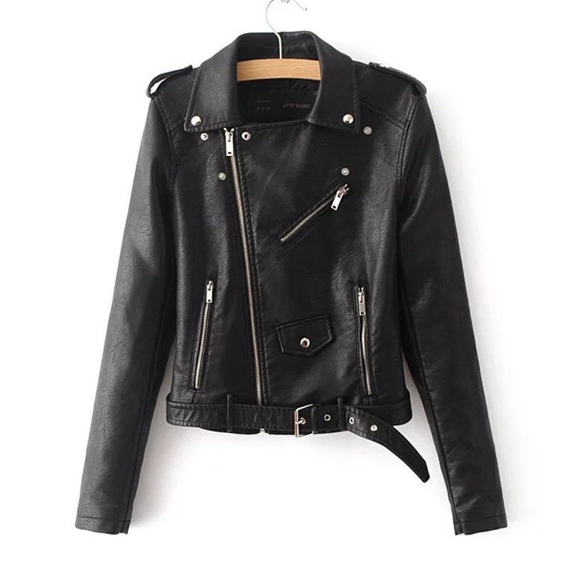 Leather   Jacket Female 2019 Spring And Autumn New Fashion Locomotive Washed PU Lapel Long Sleeve   Leather   Jacket Tide H00156
