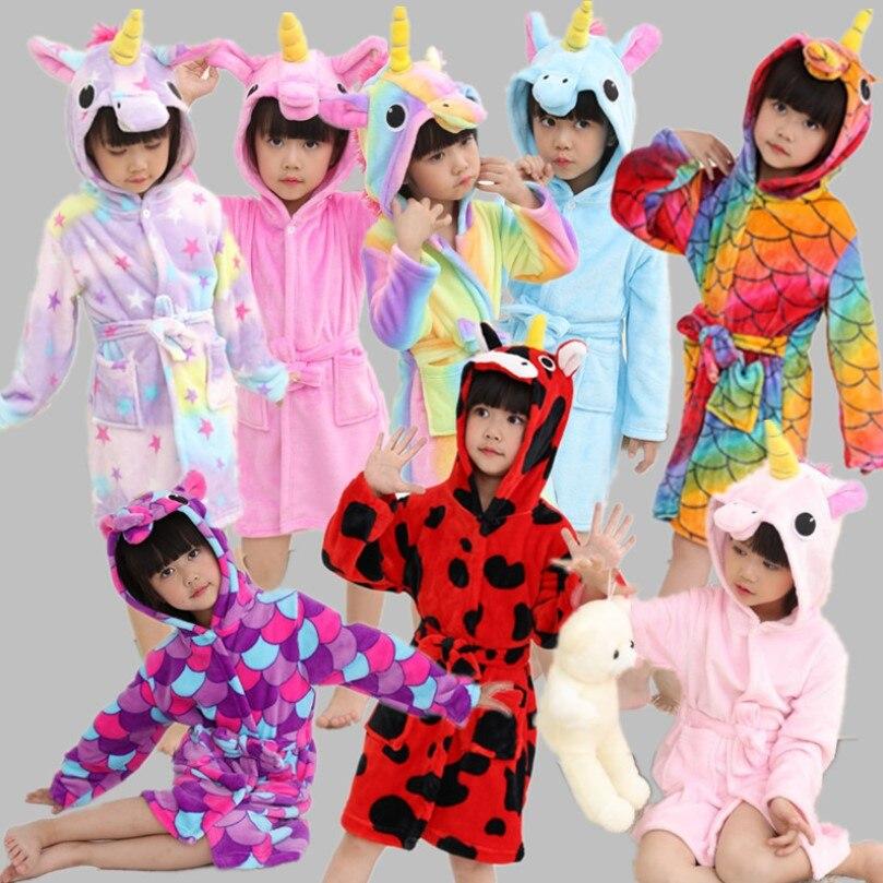 Для маленьких девочек и мальчиков Детский халат с рисунком фланелевый Халат милый банный халат с капюшоном животных Единорог Одежда для ма...