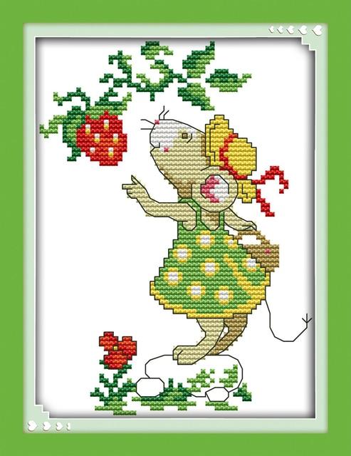 Famoso Topi e fragola punto croce kit 14ct 11ct stampa su tela a mano  DI71