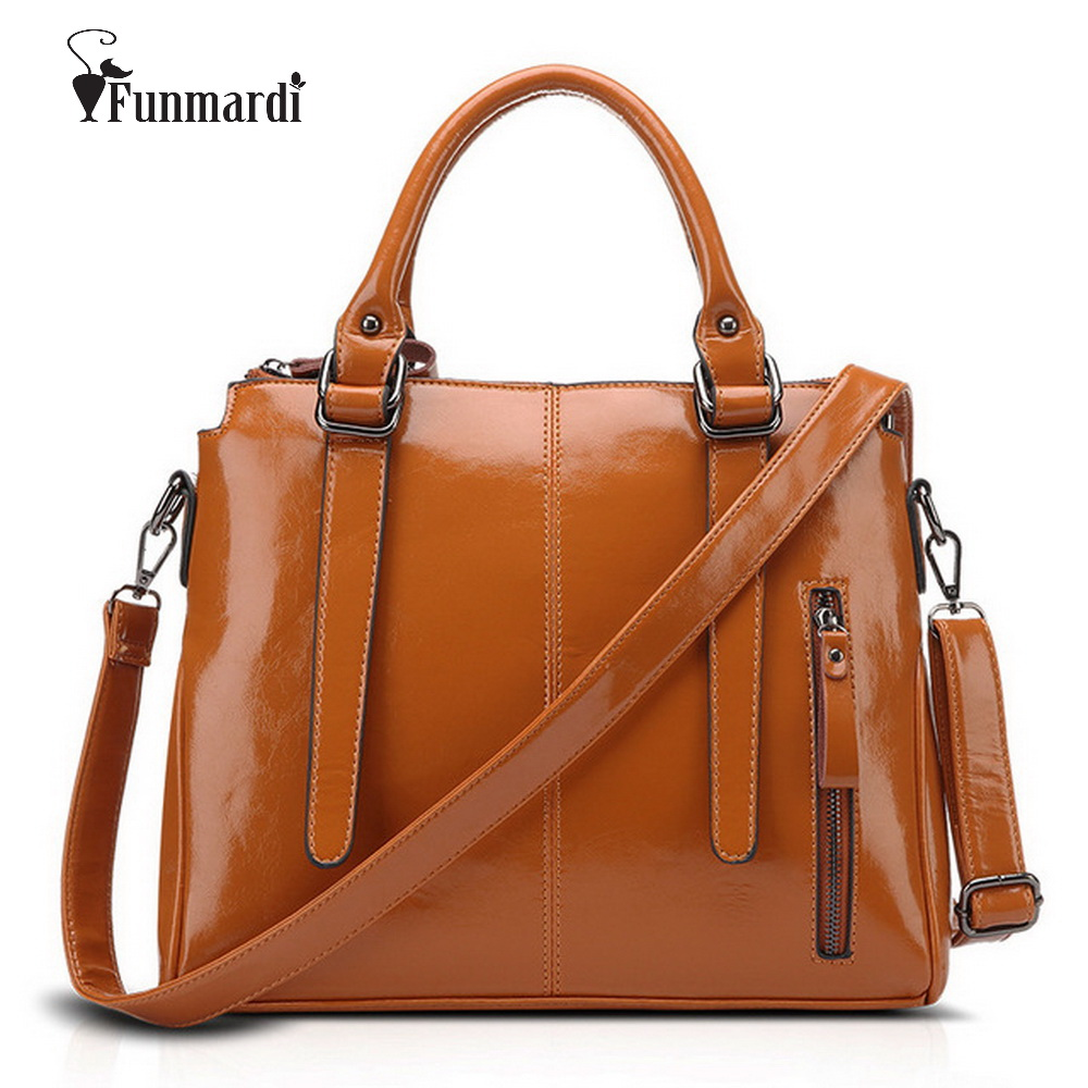 цены FUNMARDI Fashion Waxy Leather Bags Luxury Women Leather Handbag Famous Female Totes Bag Hot Sale Shoulder Bag New 2018 WLHB1418