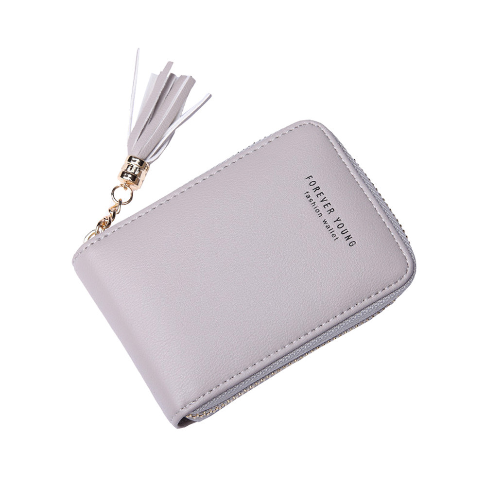 Leather Card Holder Business ID Card Holder RFID card bag tassel Wallet Tassel Small Purse Wallet women bag Porte Carte