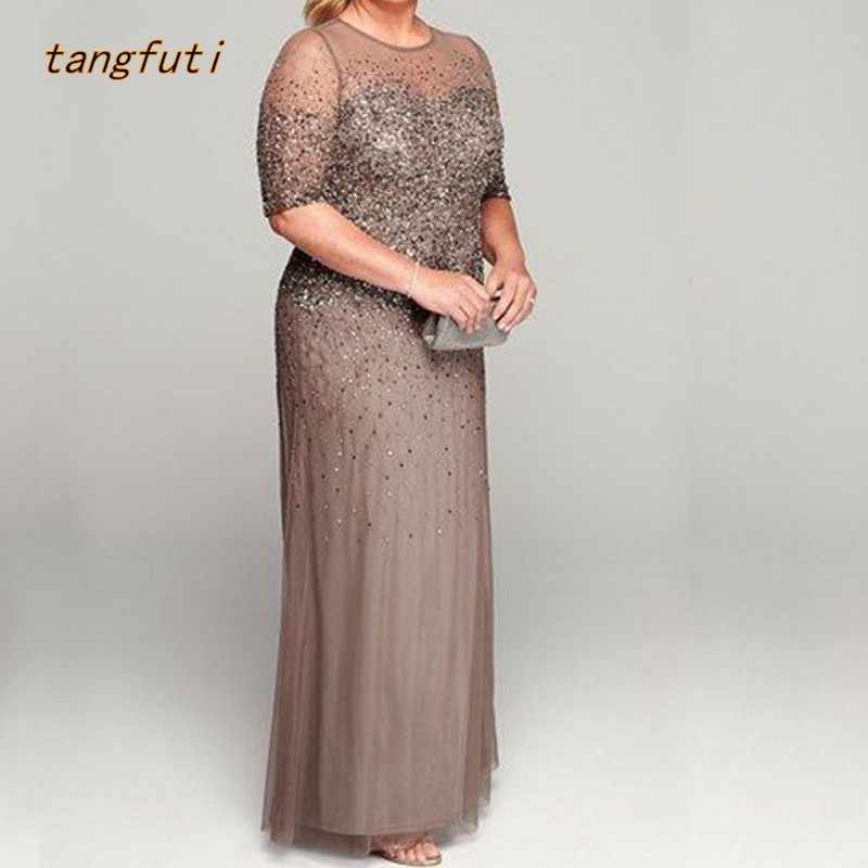 09038b9afb47 Plus Size Mother Of The Bride Dresses Half Sleeve Beads Sequins Customized  Mother Of The Groom