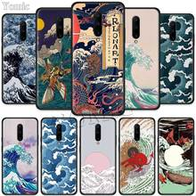 Wave Art Japanese Green Illust Black Soft Case for Oneplus 7 Pro 7 6T 6 Silicone TPU Phone Cases Cover Coque Shell