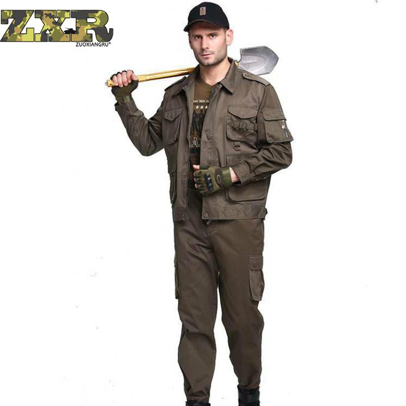 Outdoor Military Tactical Shirt + Pants For Men Multicam Uniforms Camouflage Hike Uniform Military Army Green Uniform