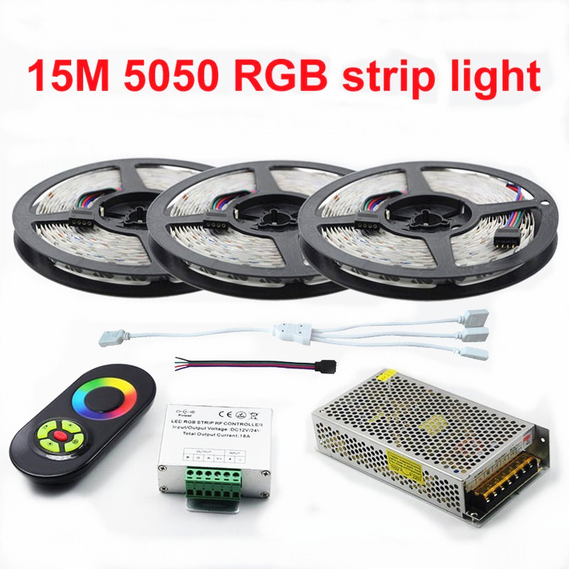 New Decorate 15 Meters RGB Led Strips 5050 60Leds/M christmas Light Non-Waterproof Tape+18A Touch RF Dimmer Remote Controller 10 50 meters pack 1m per piece led aluminum profile slim 1m with milky diffuse or clear cover for led strips