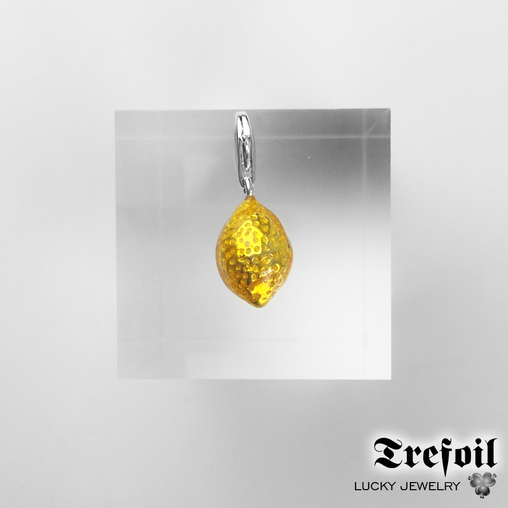 Yellow Lemon Charms Pendant,Fashion Jewelry 925 Sterling Silver Trendy Gift For Women Girls Fit Bracelet Necklace Bag 2018 New