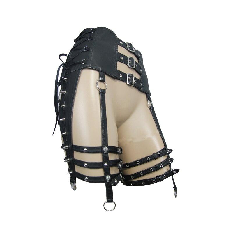 Панк стиль Женские аксессуары ремни тяжелый локомотив заклепки Ремни PU Металлические Регулируемые ремни для ног Аксессуары для вечеринки в стиле Хэллоуин - 5