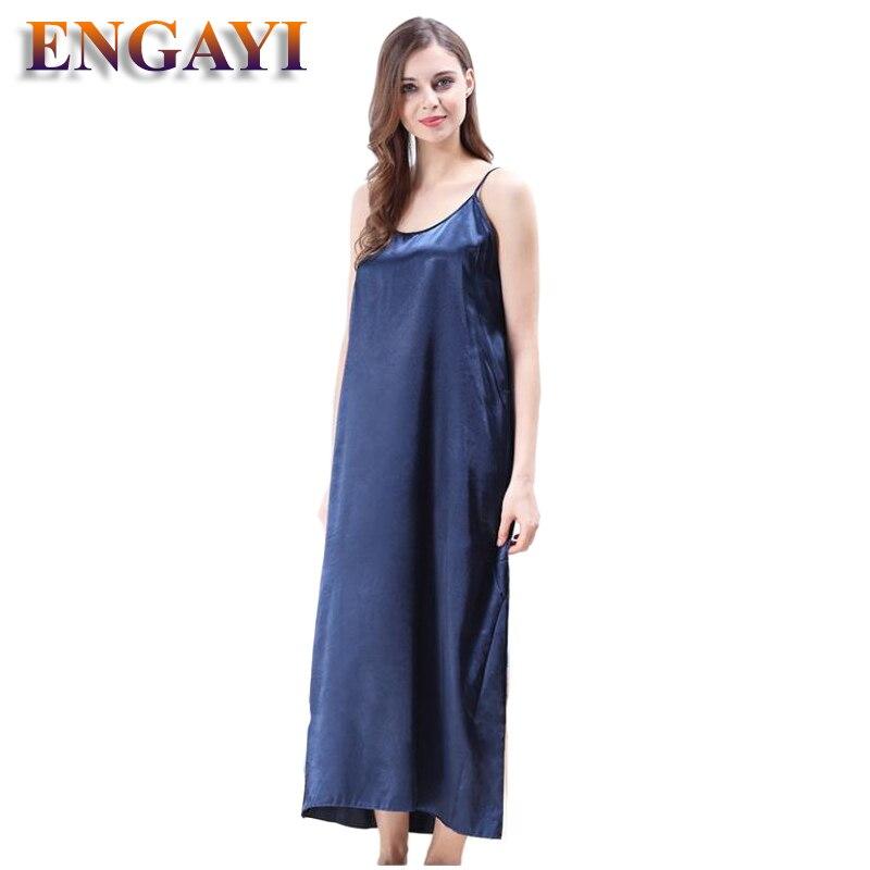 Plus Size XXXL 5 Colors Women Long Nightwear Faux Silk Satin Night Dress Girls Sleepwear Nightgown Nightdress Night Down B276 2