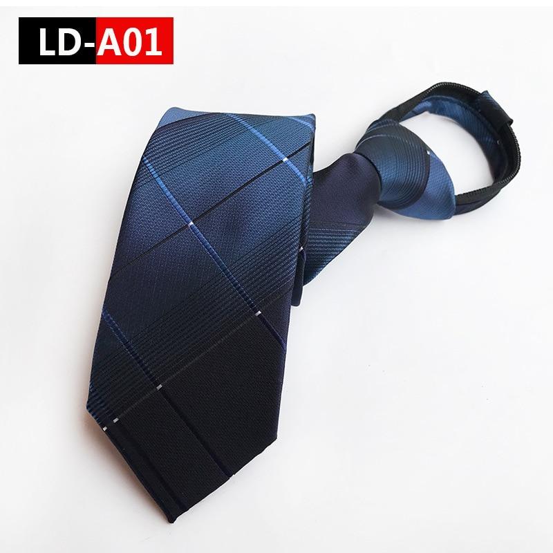 Zipper Tie Men's Commercial Formal Suit Lazy Necktie Striped Male Wedding Narrow Tie