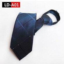 Zipper Tie Mens Commercial Formal Suit Lazy Necktie Striped Male Wedding Narrow