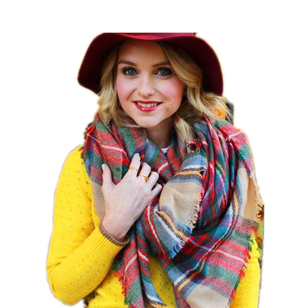 New Tassel Scarf Wrap Shawl Plaid Cozy Checked Women Lady Blanket Oversized font b Tartan b
