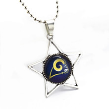 Hot Sale Star Glass Pendant NFL Necklace St Louis Rams Charms With 45cm Silver Beads Chains DIY Jewelry 10pcs/lot