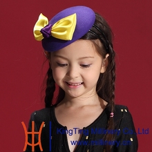 Free Shipping Children Girl wool Fascinators Hats Lovely Dress Hair Accessories with Small Pink Color Cute