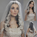 Vintage Lace Bridal Veil Fashion Two layer Blusher Elbow Length Edge Crystal Beaded Wedding Hair Accessories