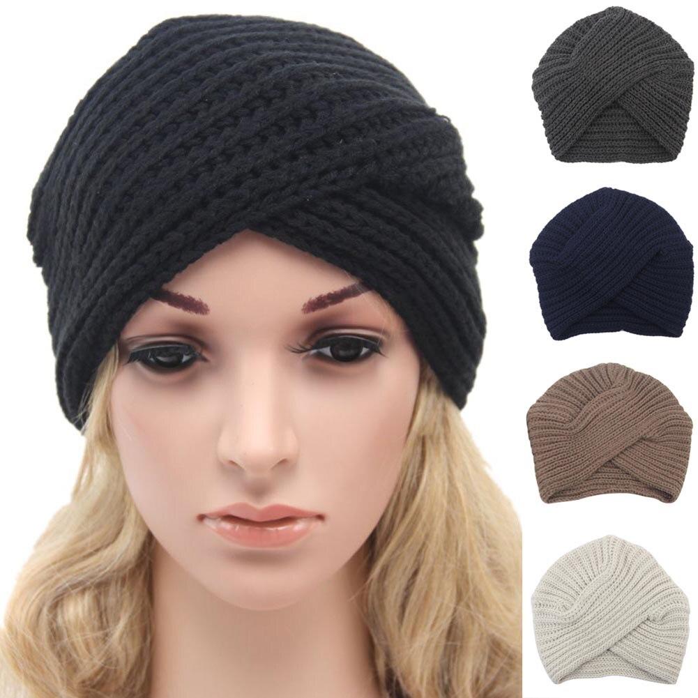 Fashion Women Knitted Turban Hat India Plate Head Cap Autumn Winter Keep Warm Cute Beanies Lady Girl Crochet Cross Hats