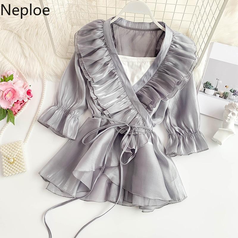 Neploe Bright Silk Tops Women Summer 2019 New V-Neck Flare Sleeve Blouse Fashion Drawstring Double Ruffles Ladies Blusa 44592