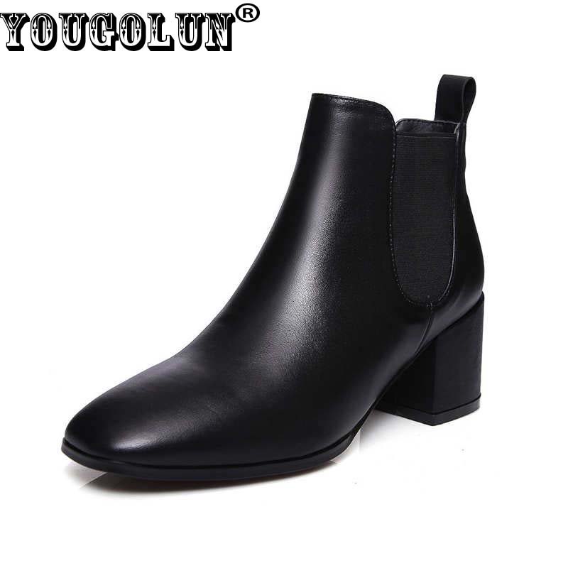 YOUGOLUN Women Ankle Boots 2017 Autumn Winter Genuine Leather Thick Heel 6.5 cm High Heels Brown Black Square toe Shoes #Y-232 yougolun women ankle boots 2018 autumn winter genuine leather thick heel 7 5 cm high heels black yellow round toe shoes y 233