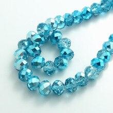 Здесь можно купить  Wholesale Half Plated Rondelle Faceted Crystal Glass Loose Spacer Beads 4mm 6mm 8mm 10mm Sky Blue