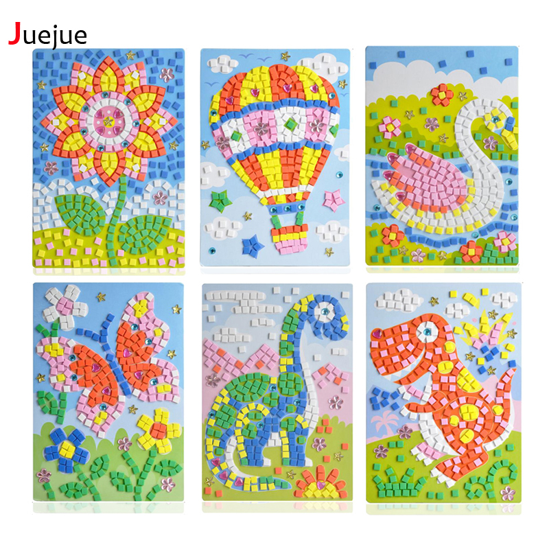 24 stiler kan velges Lot 3D Mosaics Creative Sticker Spill AnimalsTransport Arts Craft Puzzle for Kids EVA Educational Toy