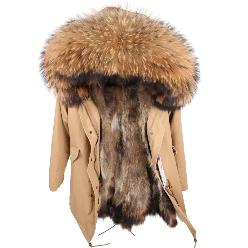 2018 Real Fur Parkas Women Jacket Real Fur Coat Natural Fur Winter Parka Long Raccoon Fur
