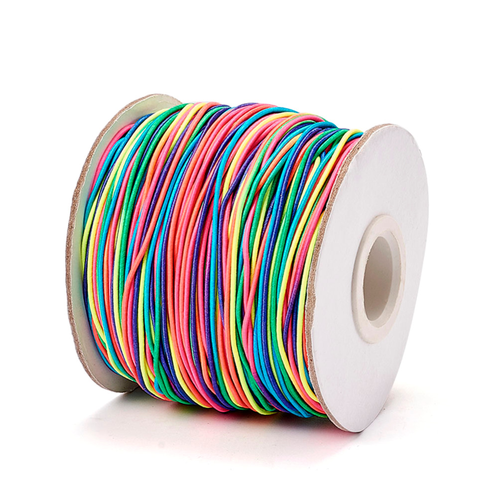 1mm <font><b>2mm</b></font> Round <font><b>Elastic</b></font> Fibre Thread <font><b>Cord</b></font> Colorful with Nylon Outside and Rubber Inside for DIY Jewelry Making image