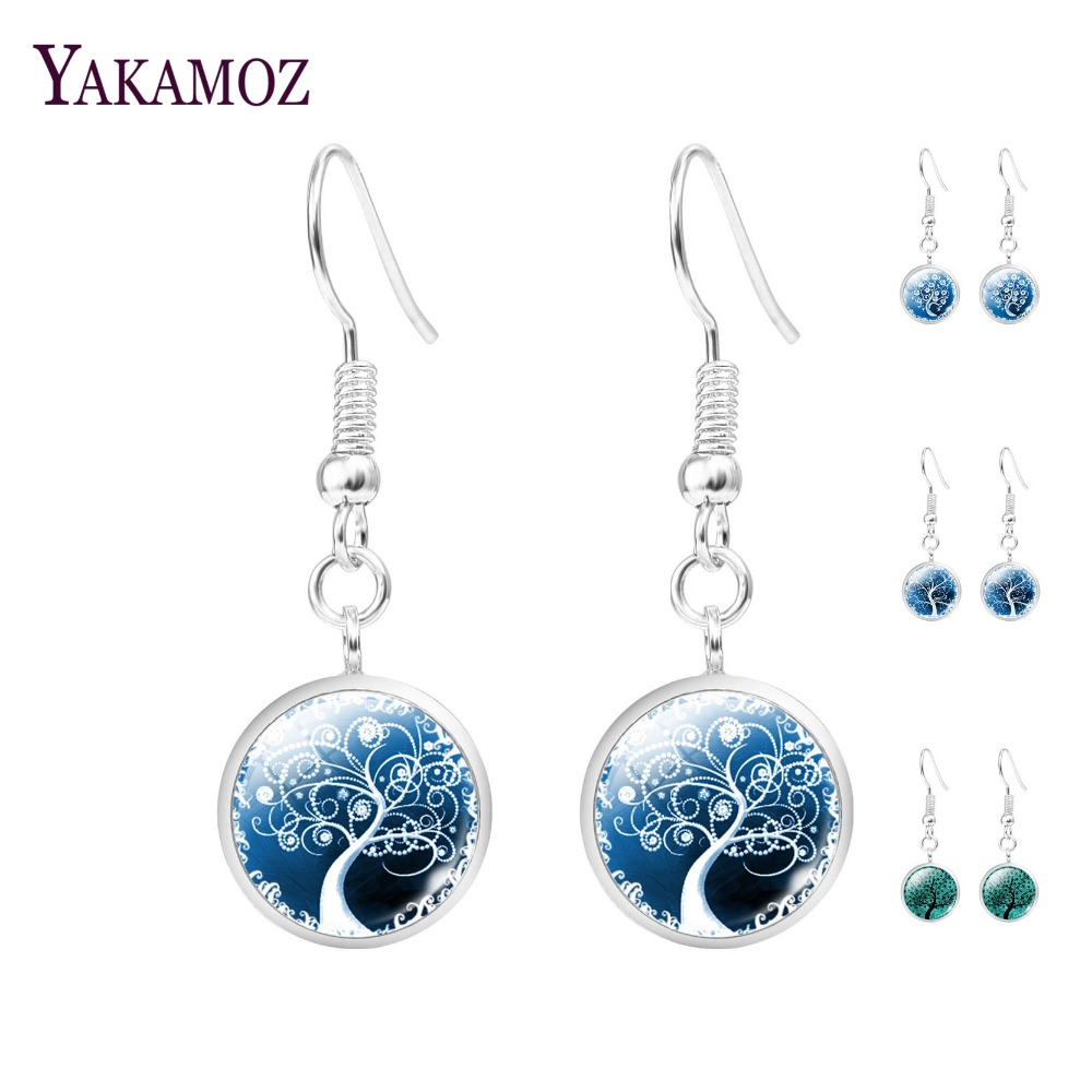 Cute The Tree Of Life Glass Cabochon Statement Earrings Women Jewelry Fashion Silver Plated Long Dangle Earrings For Women