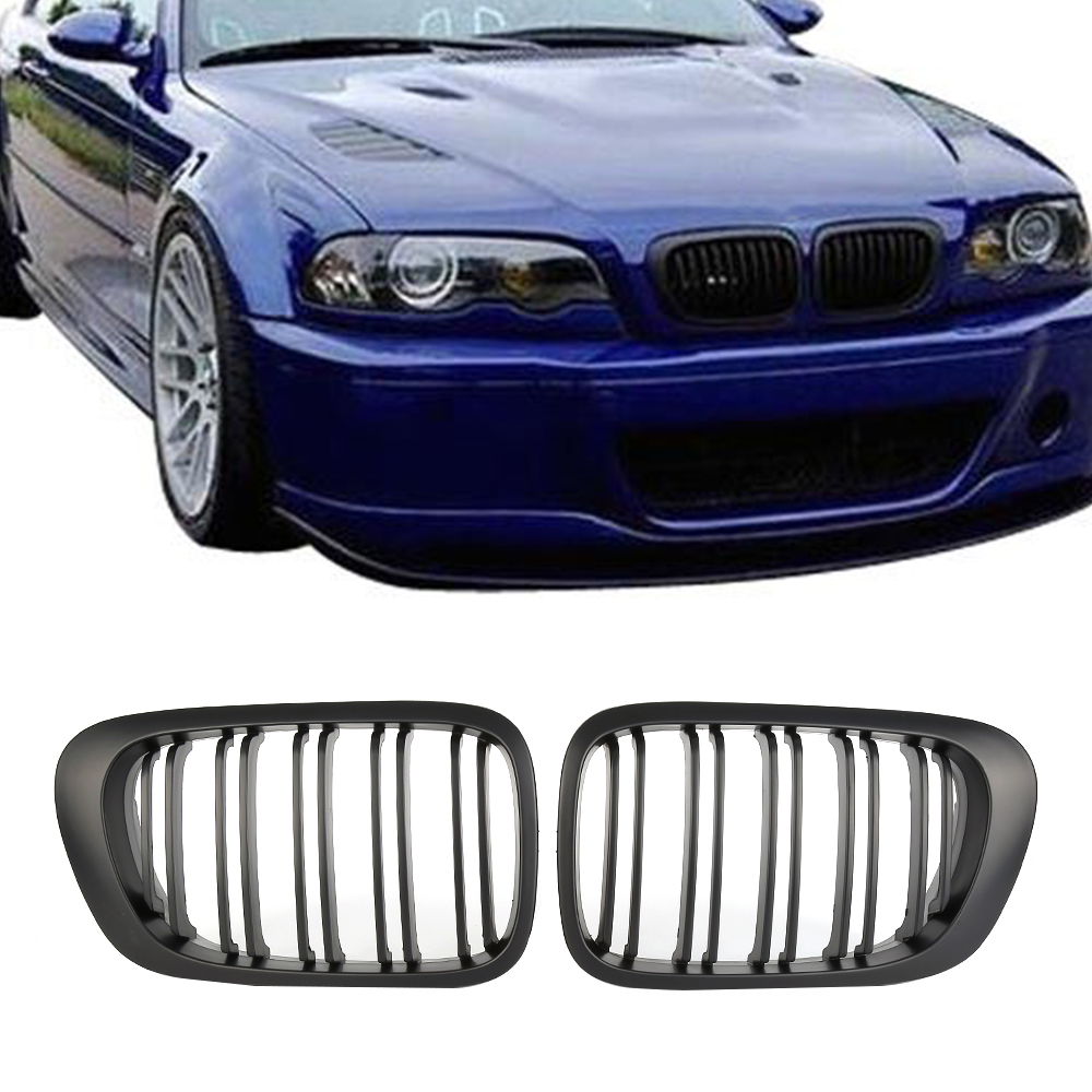 Exterior Parts Smart Carbon Fiber Style Sport Front Grille Replacement For Bmw E46 3 Series Coupe pre-facelifted
