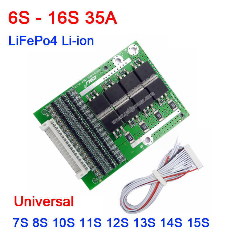 6 s-16 s 35a li-ion lifepo4 bateria de lítio bms placa de proteção w equilíbrio 7 s 8 s 10 s 13 s 14 s lipo vida 18650 12 v 24 v 36 v 48 v 60 v