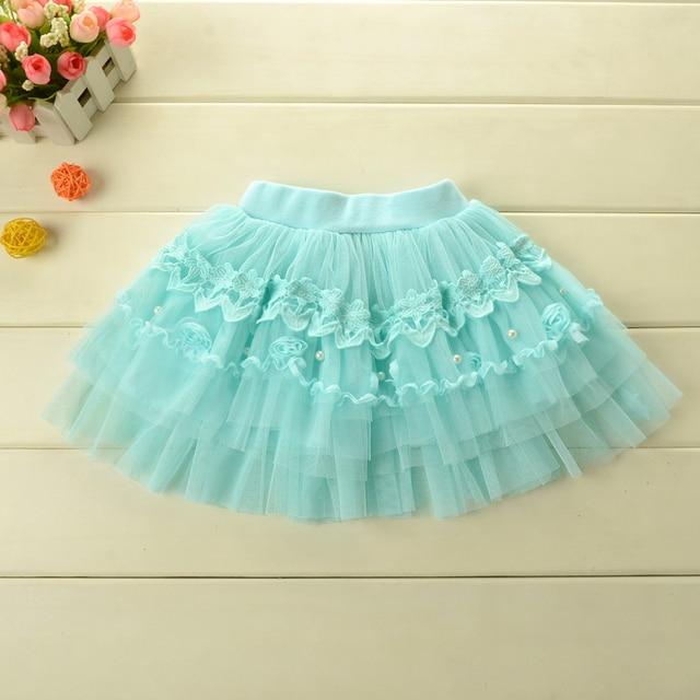 Faldas de las muchachas que rebordea venta apresurada Vestido 2015 de primavera y verano de la princesa de la falda del busto de la muchacha linda minifalda envío gratis
