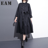 EAM 2018 New Spring Stand Collar Nine Part Sleeve Solid Color Army Green Loose Big