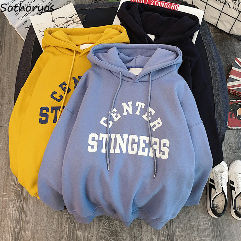 Hoodies Women Thicker Letter Printed Loose Hooded Korean Style Sweatshirts Womens Kawaii Simple All-match Students Pullovers