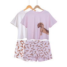 Dachshund Dog Print  2 Pieces Pyjama Suits Crop Top