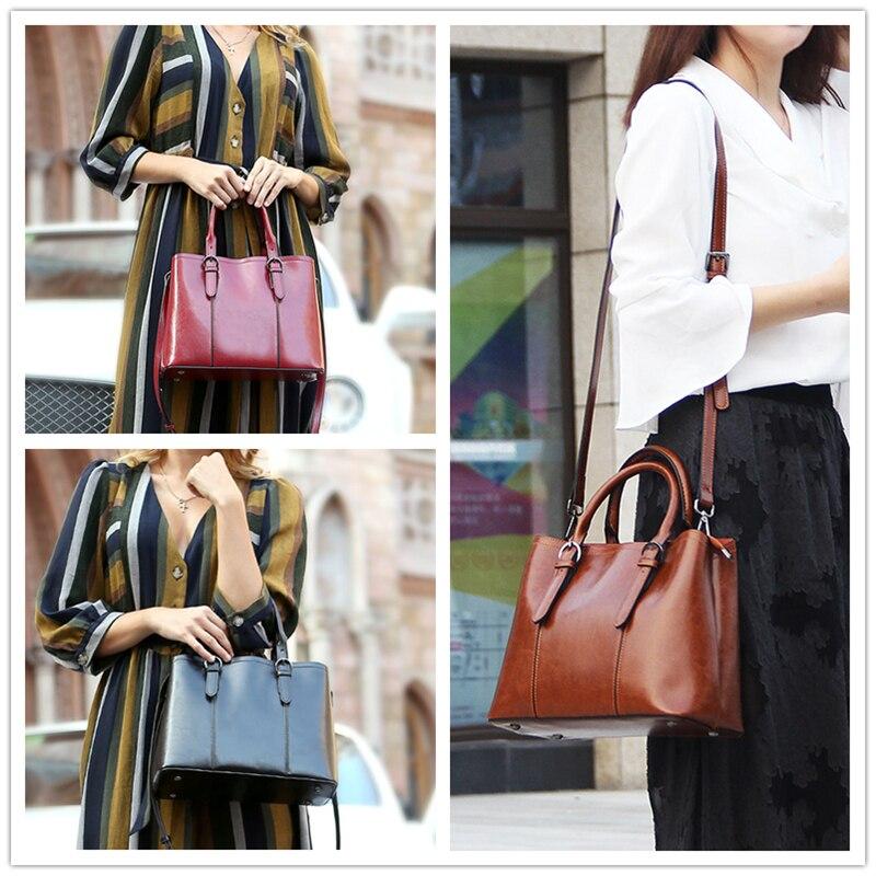 Burminsa w stylu Vintage, skóra bydlęca prawdziwej skóry torebki dla kobiet o dużej pojemności panie torby listonoszki kobiet dużego ciężaru torby nowy 2019 w Torebki na ramię od Bagaże i torby na  Grupa 3