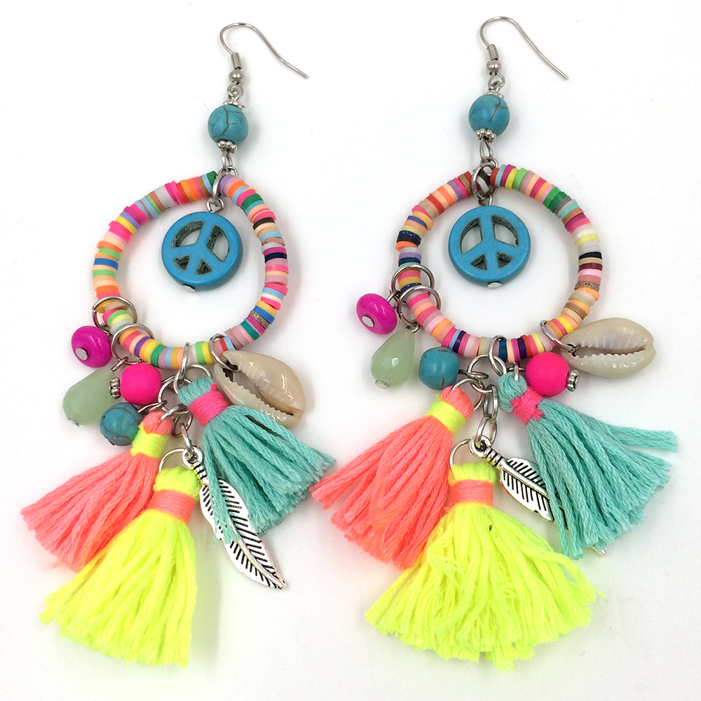 2017 New Dangle Earrings With Cotton Tassel Colorful Summer Style Polymer Claybeads Charms