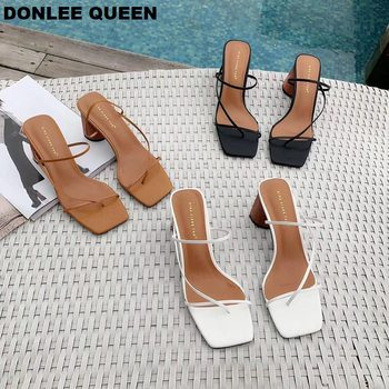 2019 Summer Elegant Women Narrow Band Slides High Heel Slippers Female Peep Toe Wood Block Heel Sandals For Party Shoes Slippers