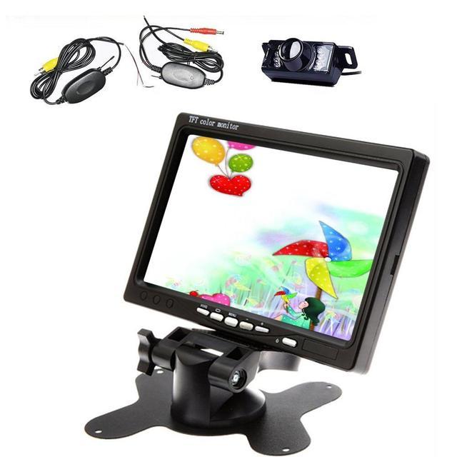 Latest 7 ''TFT LCD Monitor de retrovisor do carro À Prova D' Água com Tela de Controle Remoto receptor Sem Fio Night Vision Rear View IR câmera