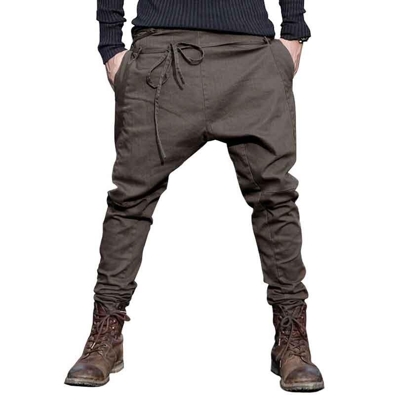 Для мужчин шаровары Штаны бренд 2018 Повседневное провисания Штаны Для мужчин брюки low Crotch брюки Для мужчин джоггеры ноги Штаны висит промежн...