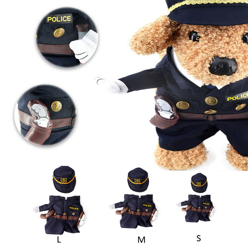 Funny Pet Costume Dog Cat Costume Clothes Dress Appare Policeman