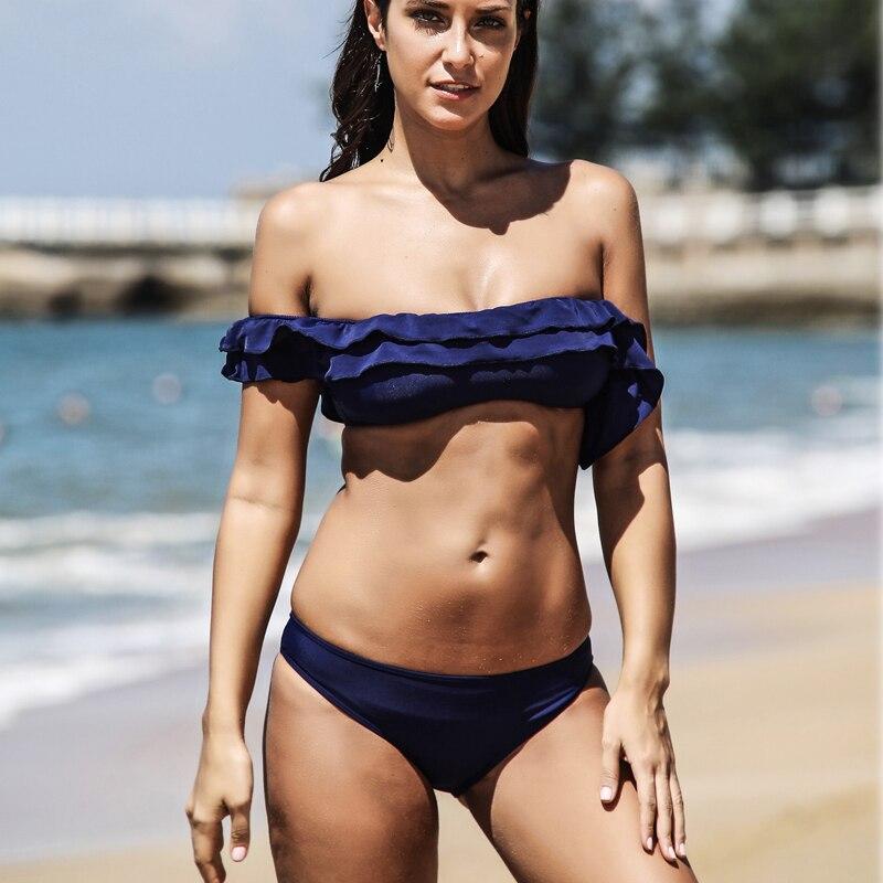 Solid Bikinis Off Shoulder Ruffle Bandeau Bikini Set Brazilian Women Swimwear Flounce Bathing Suits Monokini Push Up Swimsuit khaki off the shoulder ruffle trim bikini set